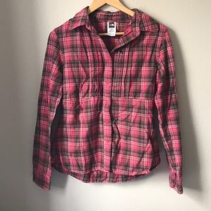 Women's North Face Button Down Flannel Pink Plaid